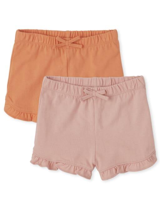 Paquete de 2 pantalones cortos de punto con volantes Mix And Match para niñas pequeñas