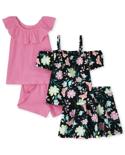 Conjunto de 4 piezas de pantalón corto y pantalón corto sin mangas con estampado de mariposas y hombros descubiertos para niñas pequeñas Mix And Match