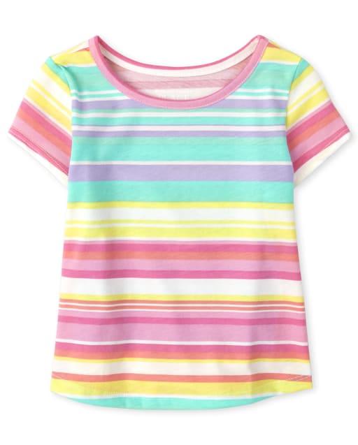 Top de rayas arcoíris de manga corta para bebés y niñas pequeñas