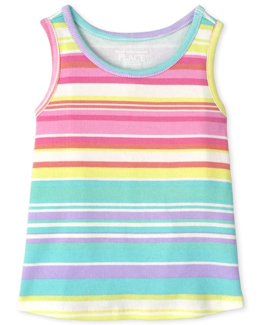 Baby And Toddler Girls Sleeveless Rainbow Striped Ribbed Tank Top