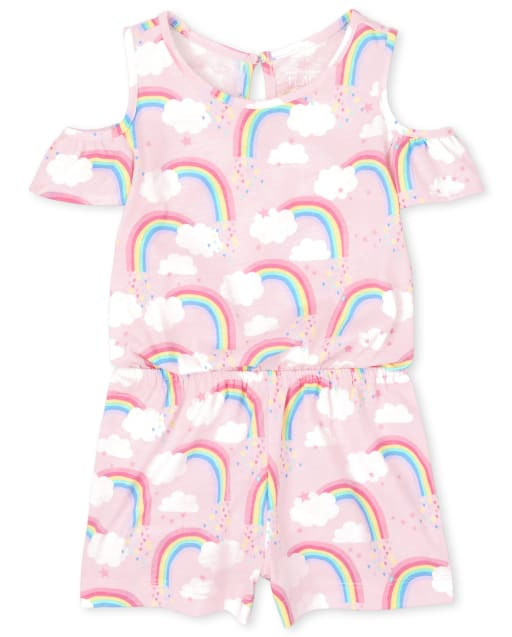 Mameluco con hombros descubiertos de punto con estampado de arco iris de manga corta para bebés y niñas pequeñas