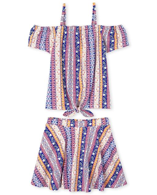 Conjunto de 2 piezas corto de punto con estampado y top delantero sin mangas con lazo en los hombros y estampado sin mangas para niñas pequeñas