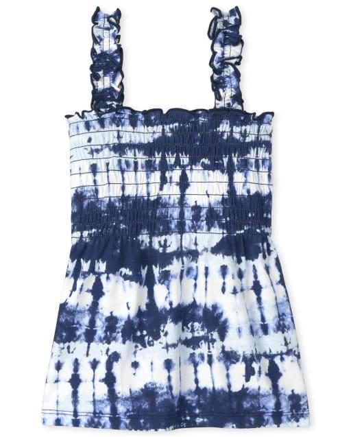 Girls Sleeveless Print Smocked Tank Top