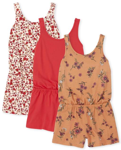 Paquete de 3 peleles de punto liso y estampado floral sin mangas para niñas
