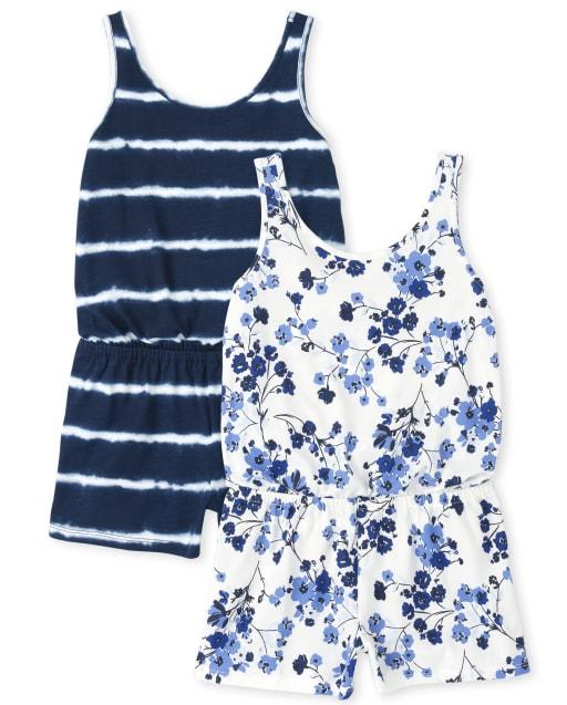 Pack de 2 mamelucos de punto sin mangas con estampado floral y teñido anudado para niñas