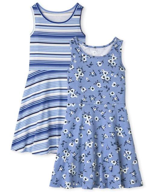 Pack de 2 vestidos de tirantes de rayas florales para niñas