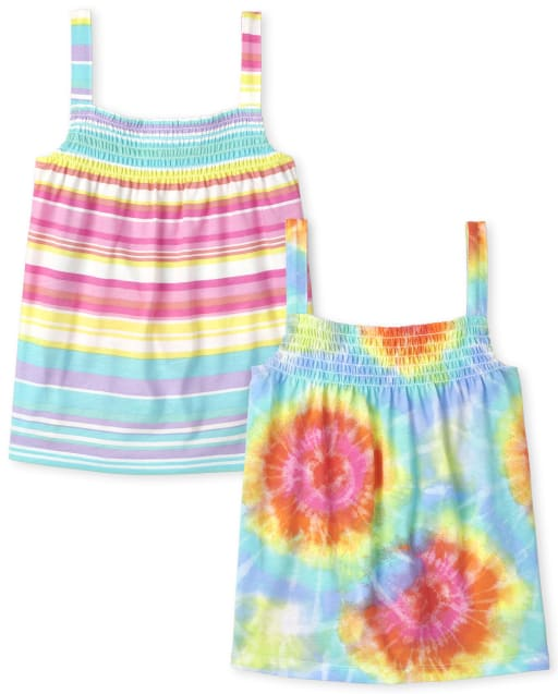 Pack de 2 camisetas sin mangas fruncidas con estampado de arcoíris para niñas