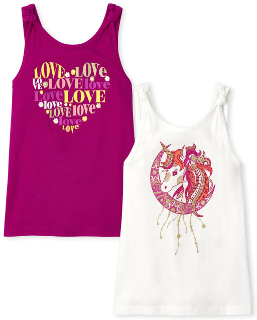 Girls Mix And Match Sleeveless Unicorn And Love Graphic Tank Top 2-Pack