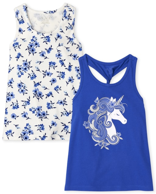 Girls Mix And Match Sleeveless Floral Ribbed And Twist Back Unicorn Tank Top 2-Pack