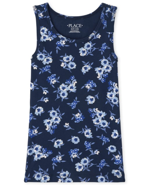 Girls Sleeveless Floral Print Ribbed Tank Top
