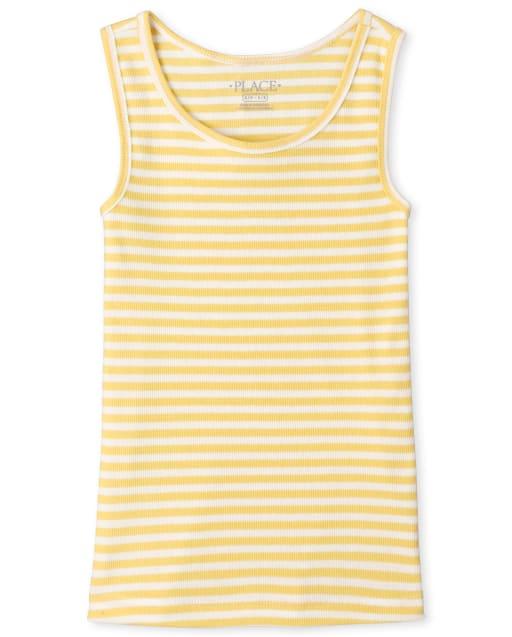 Camiseta sin mangas de canalé de rayas arcoíris sin mangas para niñas