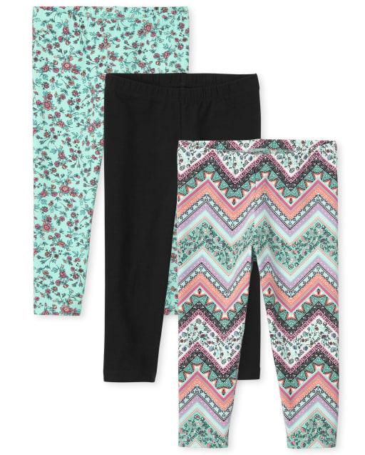 Girls Solid And Print Knit Capri Leggings 3-Pack