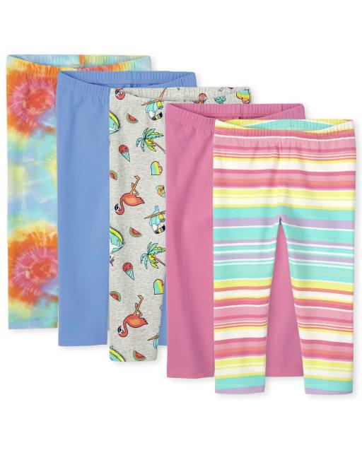 Girls Solid And Print Knit Capri Leggings 5-Pack