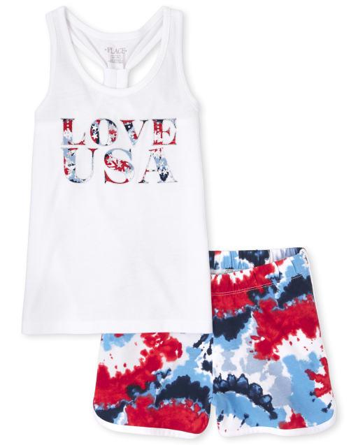 Conjunto de 2 piezas con efecto tie dye de Americana Love para niñas