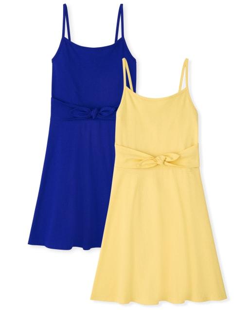 Paquete de 2 vestidos con lazo en la parte delantera para niñas