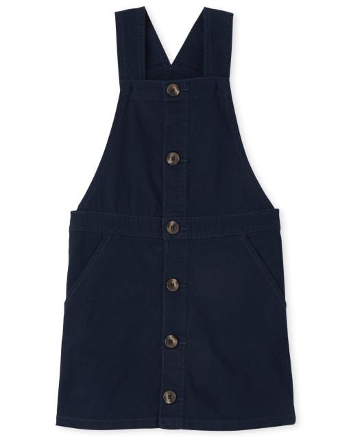 Girls Uniform Sleeveless Button Front Twill Skirtall