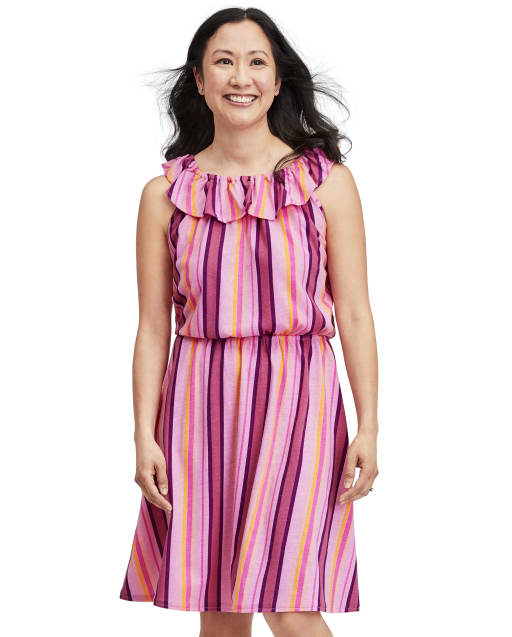 Womens Mommy And Me Short Sleeve Striped Knit Matching Ruffle Dress