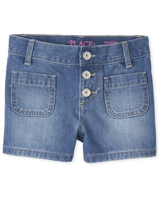 Girls Button Denim Shortie Shorts