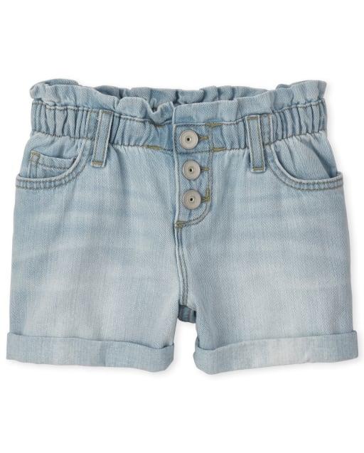 Girls Denim Paper Bag Waist Shorts