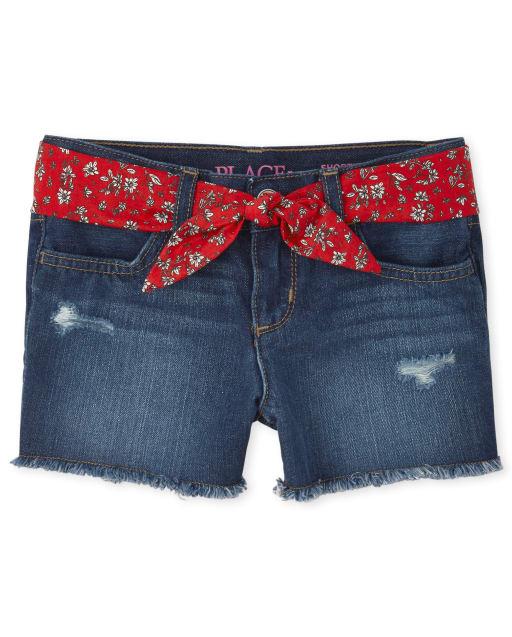 Girls Belted Denim Shortie Shorts