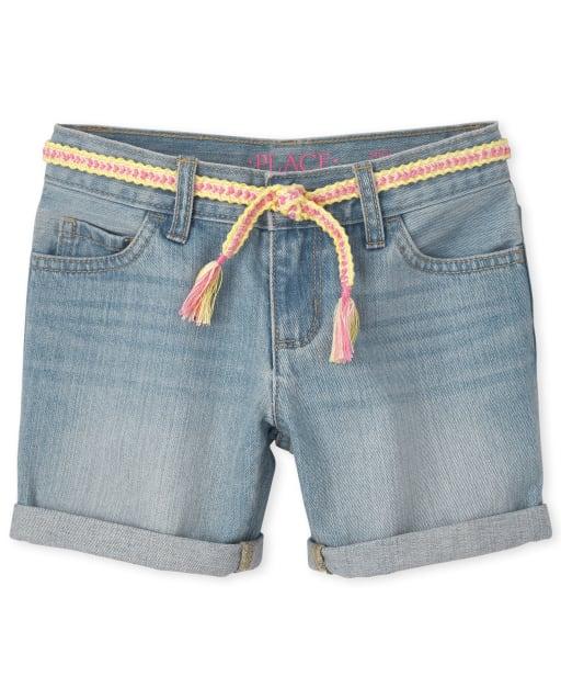 Girls Roll Cuff Belted Denim Midi Shorts