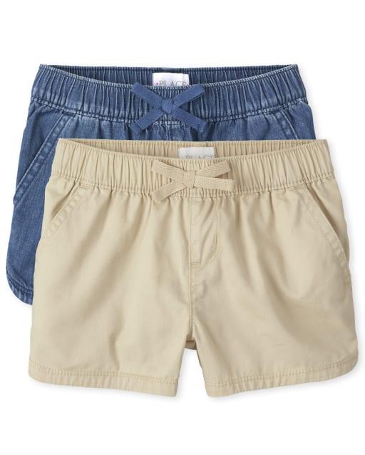 Pack de 2 pantalones cortos de sarga y denim sin tirantes para niñas