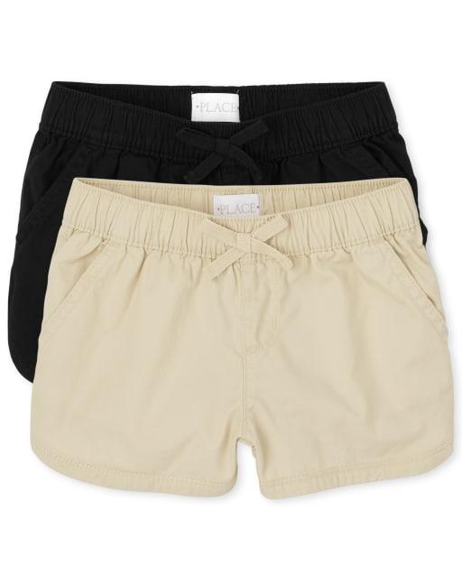 Pack de 2 pantalones cortos de sarga sin tirantes para niñas