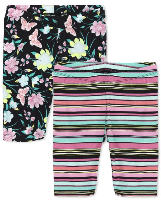 Pack de 2 pantalones cortos ciclistas estampados para niñas