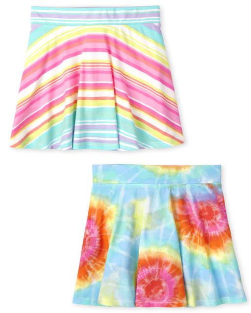 Pack de 2 falda pantalón de punto a rayas y tie dye arcoíris Mix And Match para niñas
