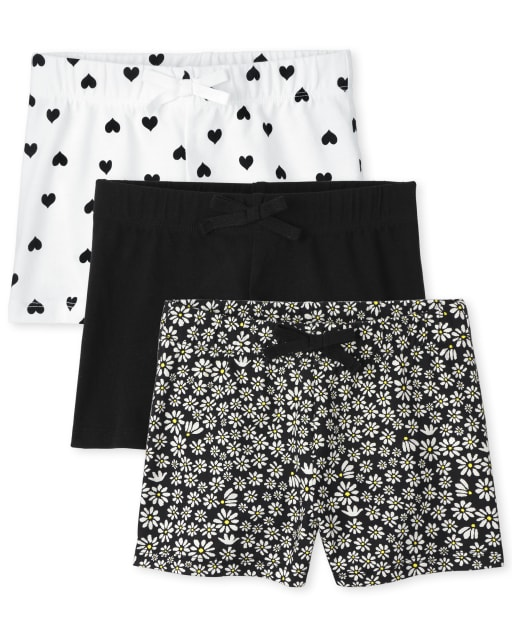 Pack de 3 pantalones cortos de punto con estampado para niñas