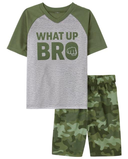 Pijama de manga raglán corta para niños ' What Up Bro '