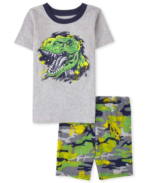 Boys Short Sleeve Dino Snug Fit Cotton Pajamas