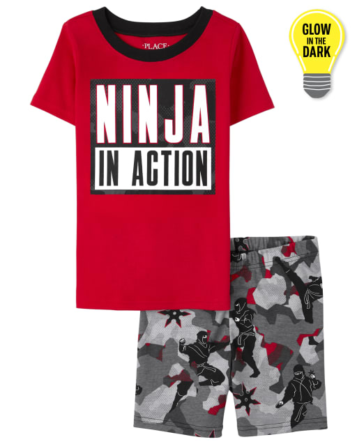 Boys Short Sleeve Glow In The Dark 'Ninja In Action' Snug Fit Cotton Pajamas