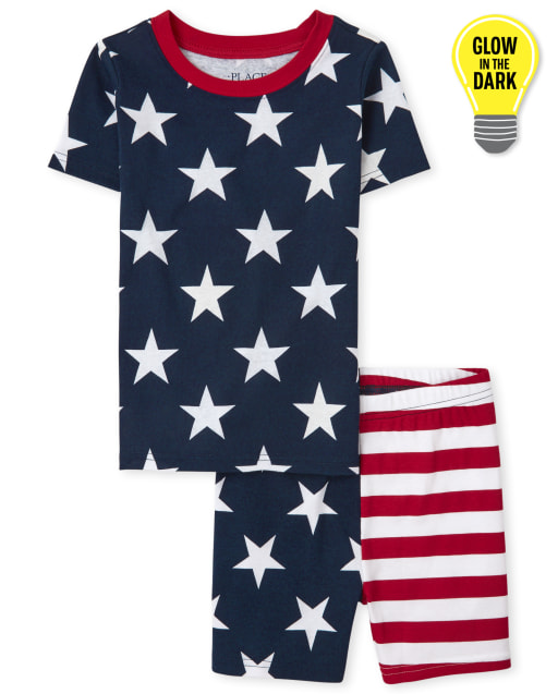 Unisex Kids Matching Family Americana Short Sleeve Glow Snug Fit Cotton Pajamas