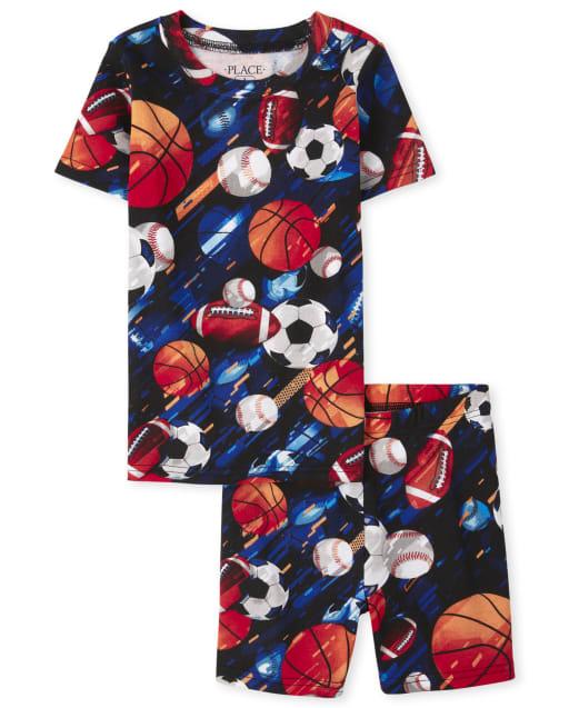Boys Short Sleeve Sports Print Snug Fit Cotton Pajamas