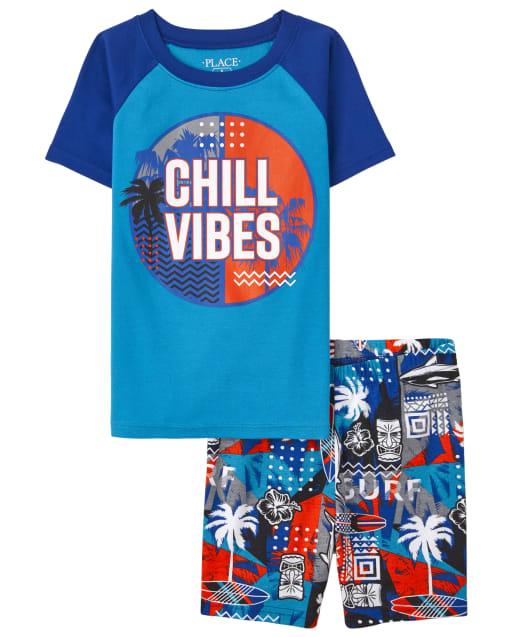 Boys Short Sleeve 'Chill Vibes' Snug Fit Cotton Pajamas