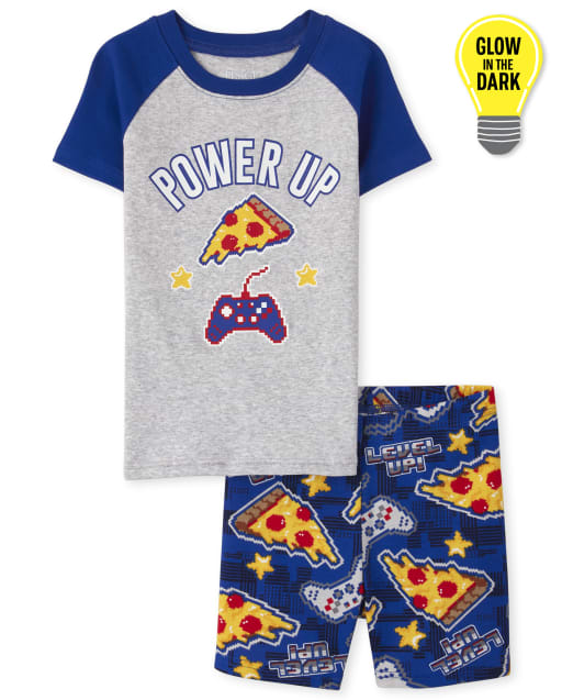Boys Short Sleeve Glow In The Dark 'Power Up' Pizza And Video Game Snug Fit Cotton Pajamas