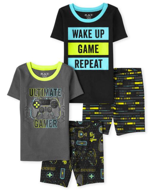 Boys Short Sleeve Video Game Snug Fit Cotton Pajamas 2-Pack