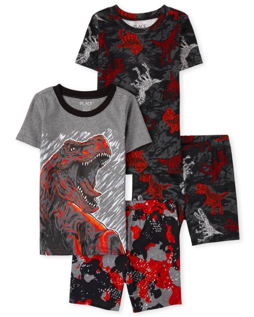 Boys Short Sleeve Dino Snug Fit Cotton Pajamas 2-Pack