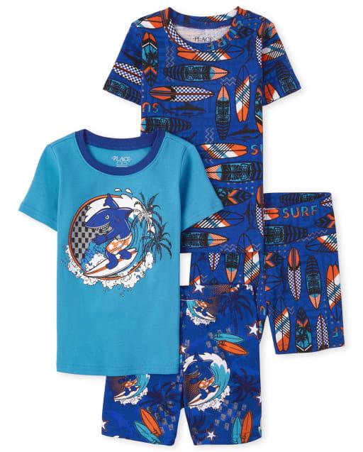 Boys Short Sleeve Surf Snug Fit Cotton Pajamas 2-Pack