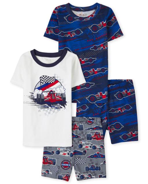 Boy Short Sleeve Race Car Snug Fit Cotton Pajamas 2-Pack