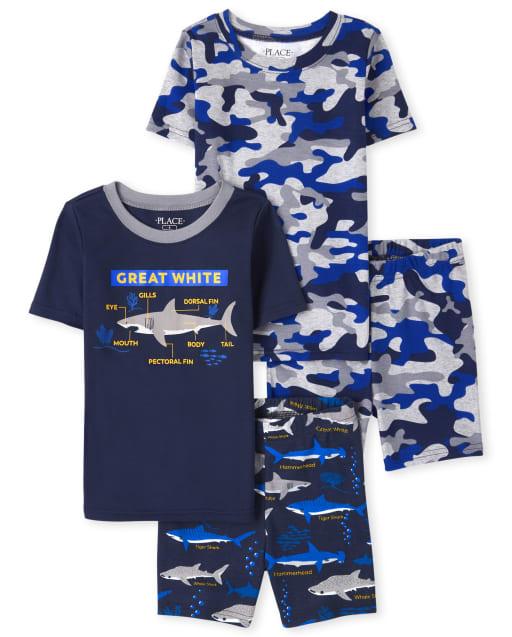 Paquete de 2 pijamas de algodón con estampado de tiburón y camuflaje de manga corta para niños