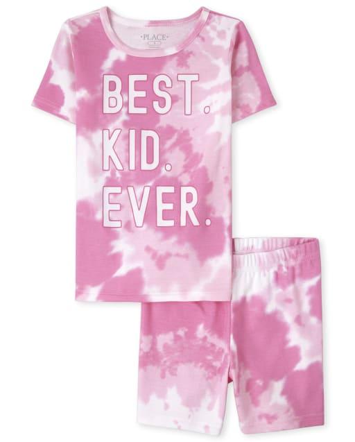 Niñas a juego con la familia de manga corta ' mejor niño de todos los tiempos ' Pijama de algodón con ajuste ceñido y teñido anudado
