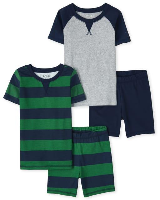 Paquete de 2 pijamas de algodón de manga corta a rayas y raglán con ajuste ceñido para niños