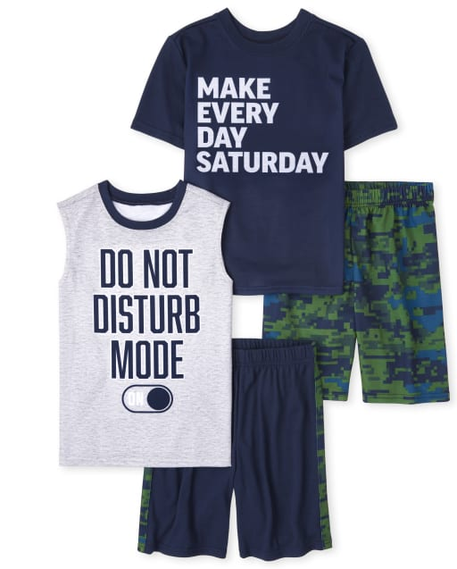 Pijamas de manga corta para niños ' Make Every Day Saturday ' y sin mangas ' Modo No molestar ' Paquete de 2 pijamas