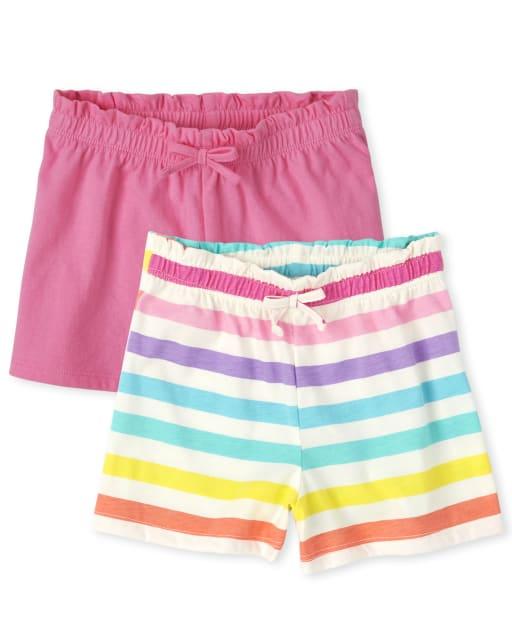 Paquete de 2 pantalones cortos de punto liso y con rayas arcoíris Mix And Match para niñas pequeñas