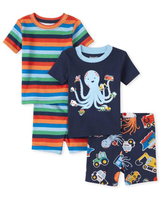 Pijamas de algodón con diseño de pulpo a rayas y manga corta para bebés y niños pequeños, paquete de 2