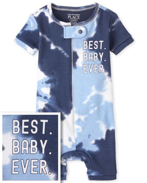 Pijamas de una pieza recortados de algodón con ajuste ceñido y manga corta a juego para bebés y niños pequeños