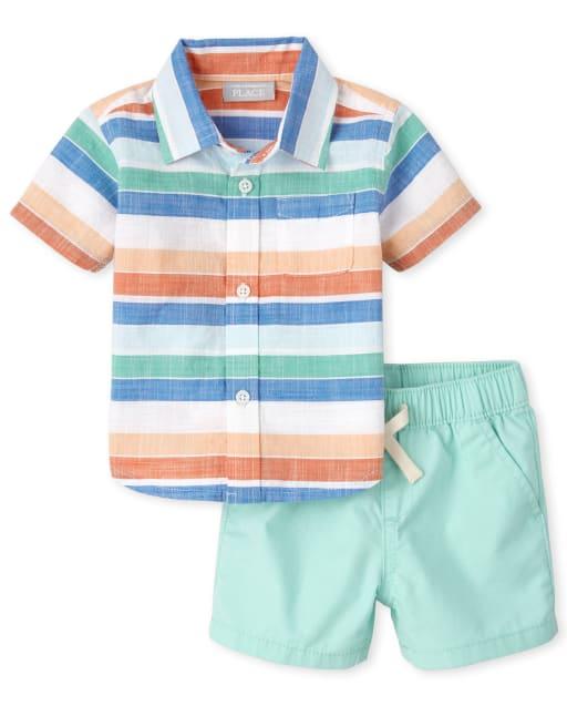 Conjunto de camisa de cambray con botones de cambray a rayas de manga corta para bebés y pantalones cortos de jogging tejidos