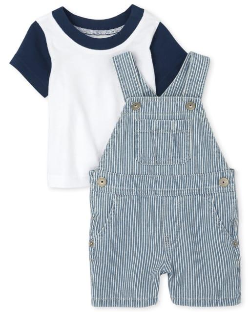 Conjunto de pantalones cortos de mezclilla sin mangas de ferrocarril y top de manga corta para bebés varones